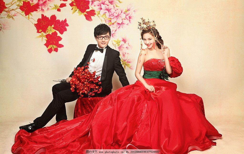 美满良缘 婚纱样片 影楼摄影 婚纱照 时尚婚纱 红色 大红 红花