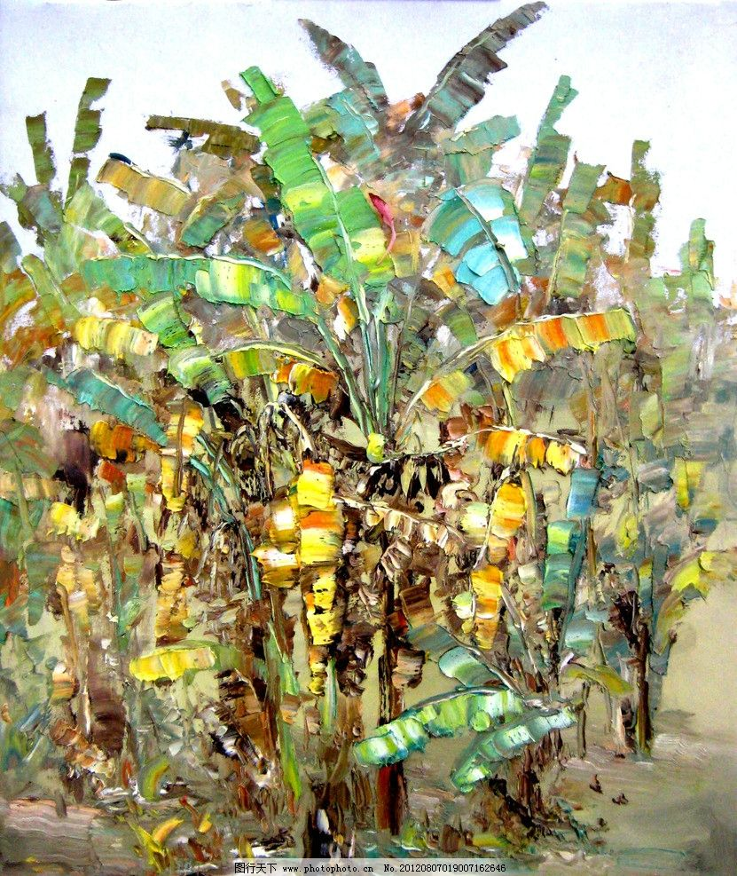 乡风 美术 油画 乡村风景 乡野 蕉林 香蕉树 油画艺术 油画作品37