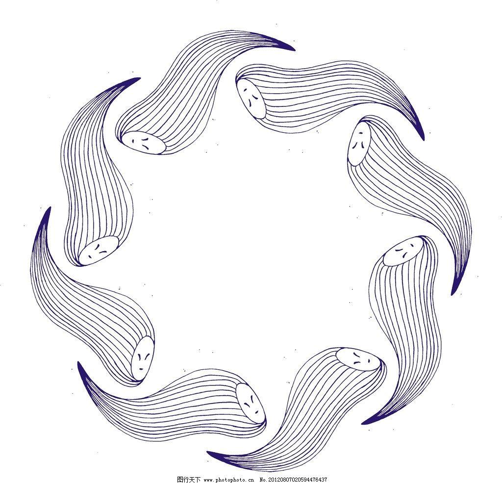 手绘插画 线条图案 时尚图案 另类图案 抽象图案 抽象底纹 平面构成