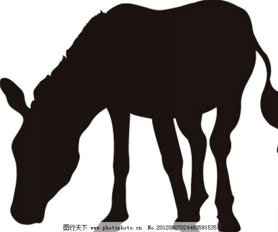 黑白马 野生动物 马 黑白动物 生物世界 矢量 eps
