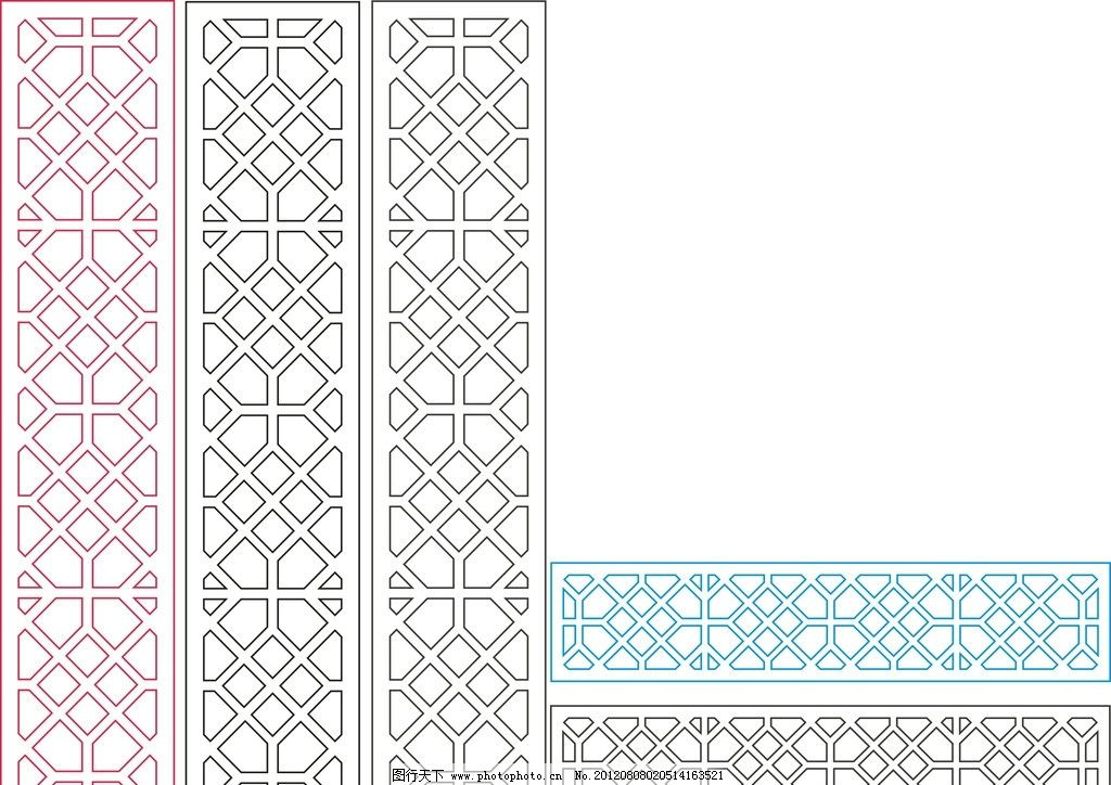 中国风门 门 屏风 窗花 图案 手绘图案 古典装饰 四方连续图案 中国风