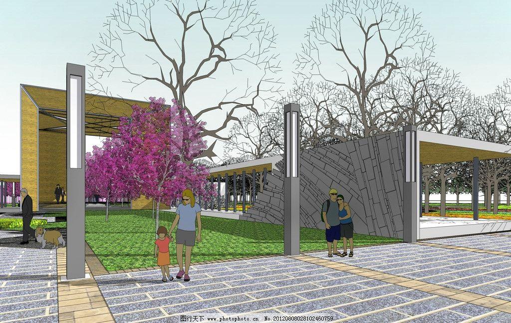 广场连廊 市民广场 花草 树木 建筑 道路 规划 景观设计 环境设计