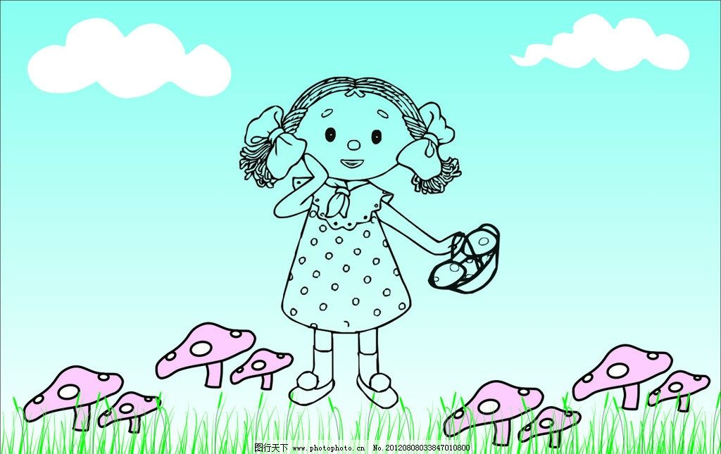 采蘑菇的小女孩 蘑菇 小草 小女孩 篮子 白云 一篮子蘑菇 矢量素材