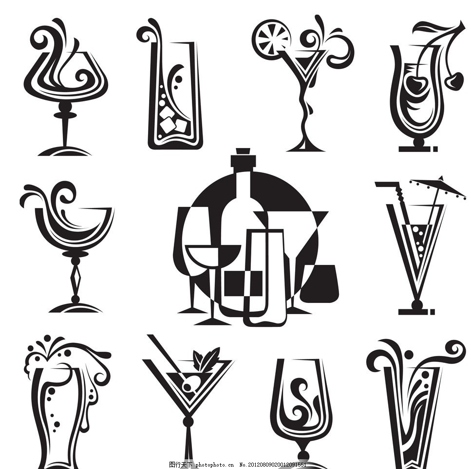 花纹式酒杯设计 动感 酒水 饮料 酒瓶 葡萄酒 香槟 红酒杯 红酒图片