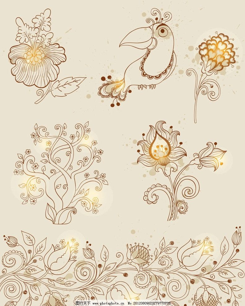 时尚手绘花纹背景图片