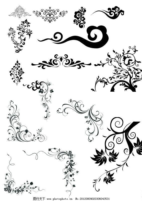 花纹 古典花纹 飘逸花纹 云纹树 花纹剪影 花朵 花纹花边 底纹边框