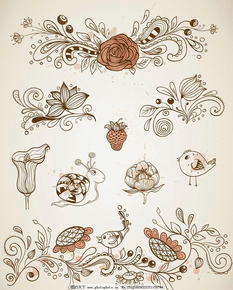 欧式花纹花朵 小鸟 蜗牛图片