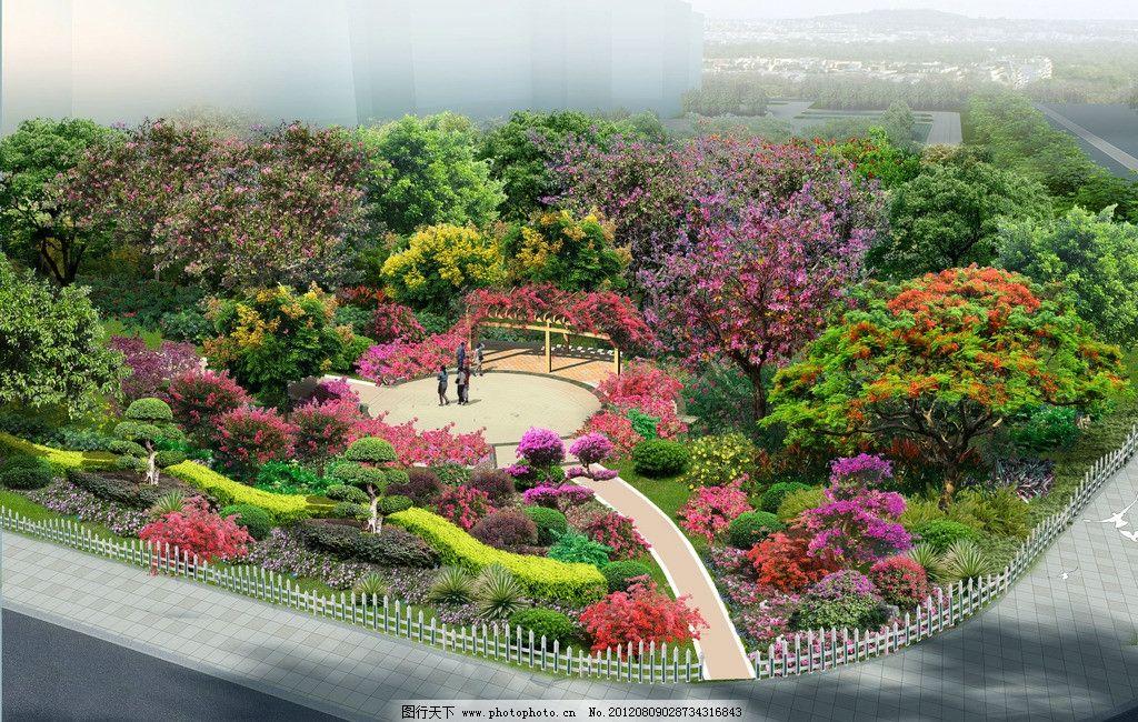 某街头公园绿化 植物 绿化 景观 园林 街头绿地 psd 素材 园林设计