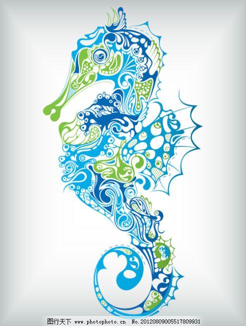 矢量花纹生物背景免费下载 古典花纹 海洋动物 海洋动物 古典花纹