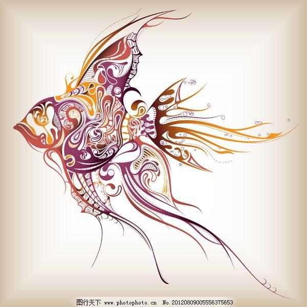 矢量线描海洋生物 矢量线描海洋生物免费下载 古典花纹 海洋动物