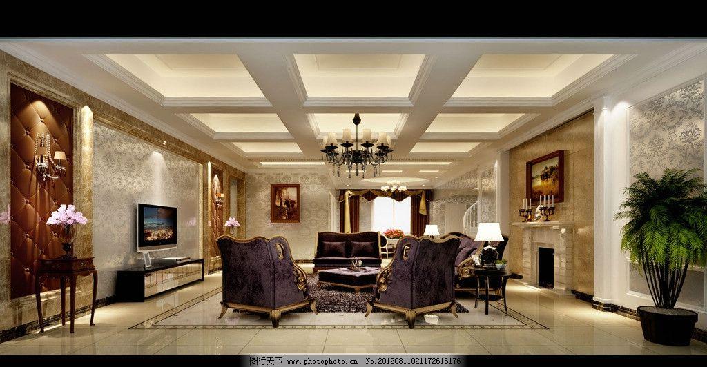欧式风格客厅 沙发 装饰画 电视柜 壁炉 植物 吊顶 墙纸 灯带