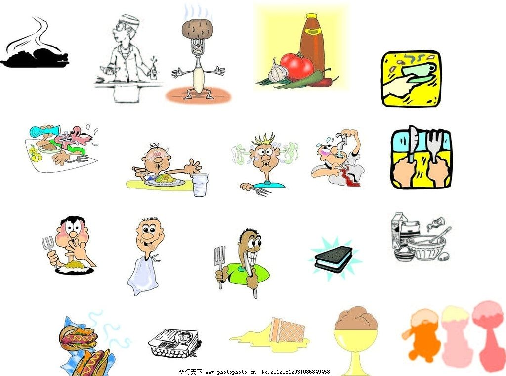 卡通 卡通人物 就餐 夹心饼干 巧克力饼干 热狗 餐饮 咖啡 刀叉图片
