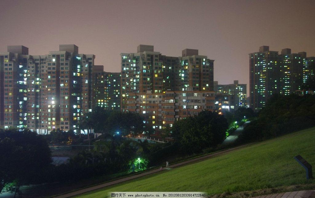 深圳梅林水库夜景图片