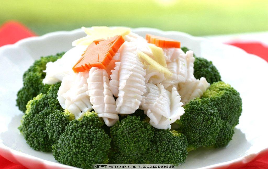 西兰花炒鲜鱿 西兰花 鲜鱿 鱿鱼 菜式 传统美食 餐饮美食 摄影 180dpi
