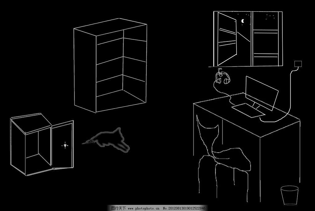 线描 室内 个性 桌面 矢量图 直线 桌椅 柜子 绘画书法 文化艺术 设计