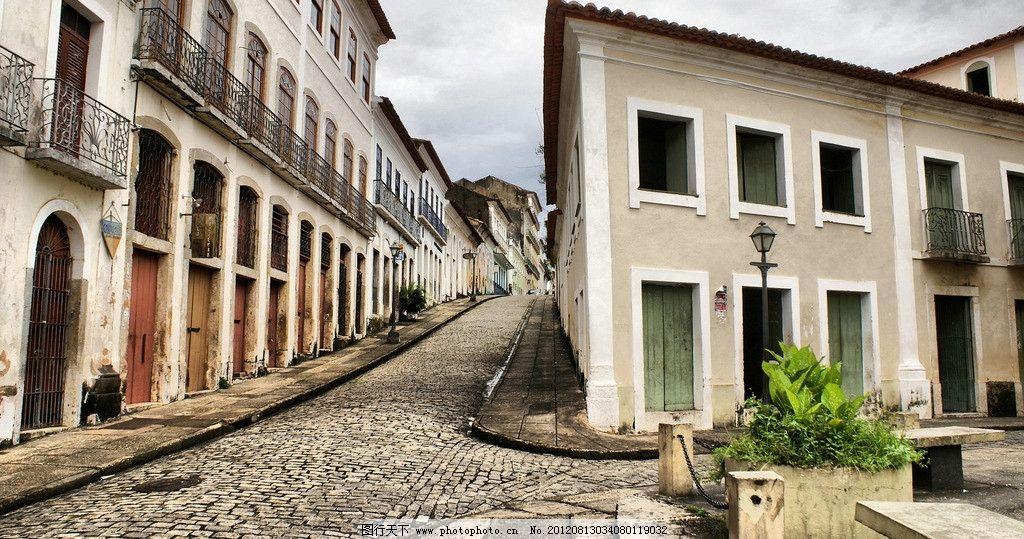 欧洲城市小镇 欧洲 欧式 建筑 小镇 摄影 广角 镜头 素材 花草 马路