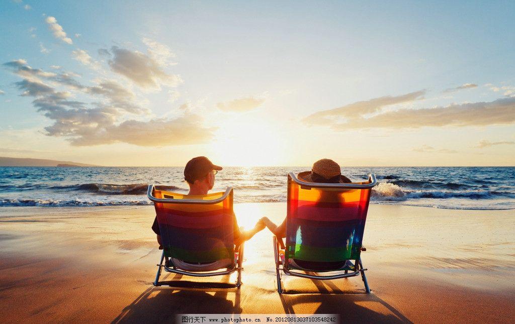 浪漫 海边 夕阳 情侣 大海 沙滩 躺椅 牵手 海面 夏天 背影 光影 娱乐