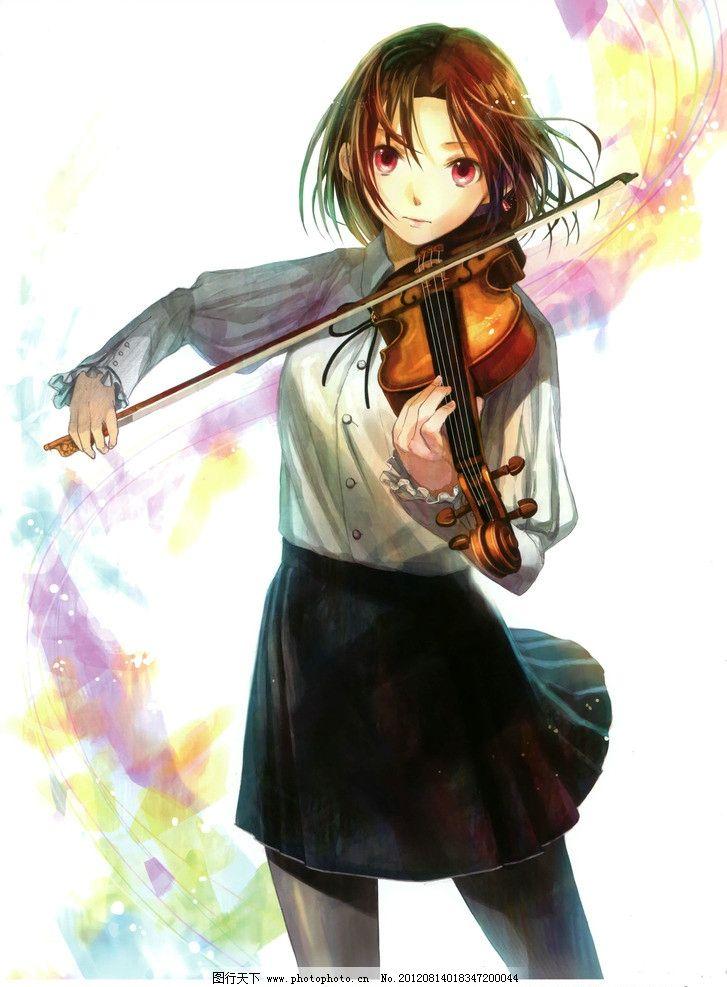 动漫 动漫人物 可爱女生 女生 小提琴 萌图 卖萌 299dpi jpg 动漫动画