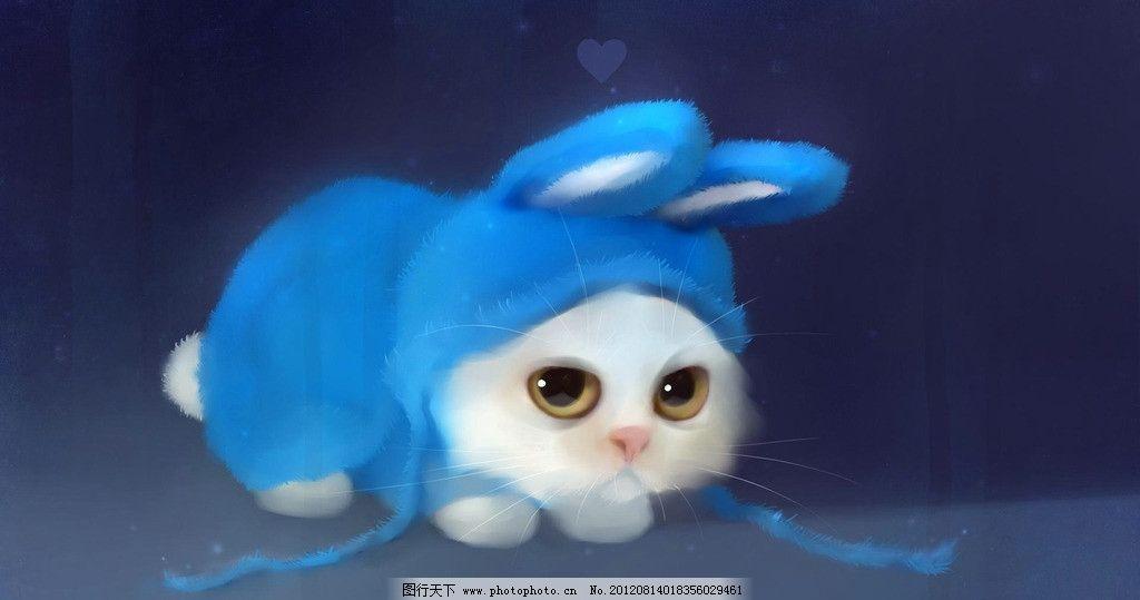 动漫小猫 小百度 可爱 小白兔 帽子 萌宠 卖萌 卖萌可耻 动漫动画