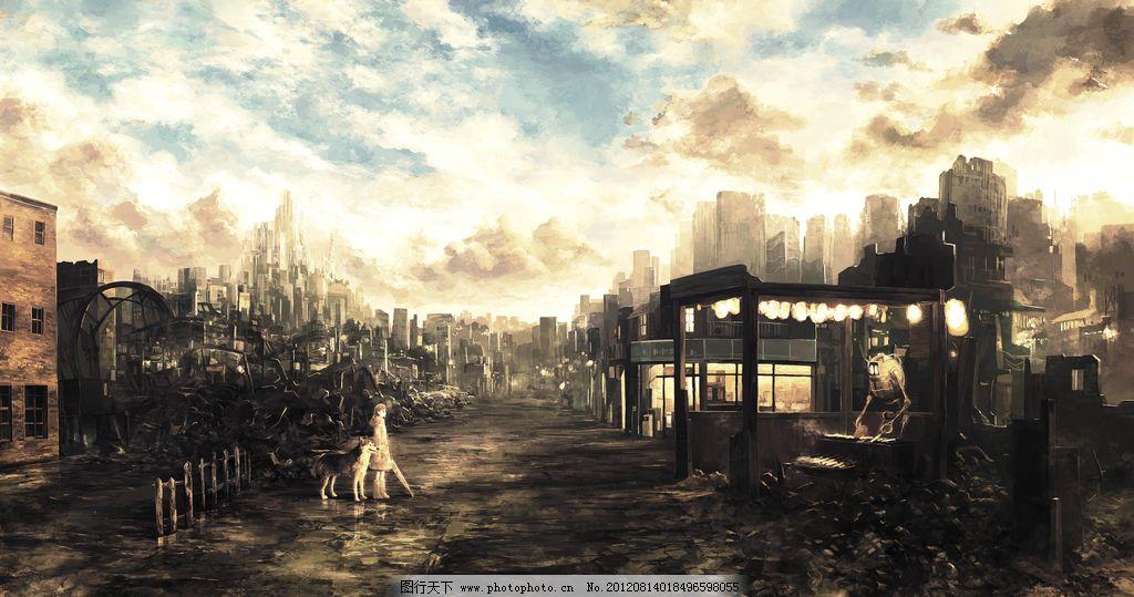 废墟 小女孩 狗 机器人 动漫场景 风景漫画 动漫动画 设计 72dpi png