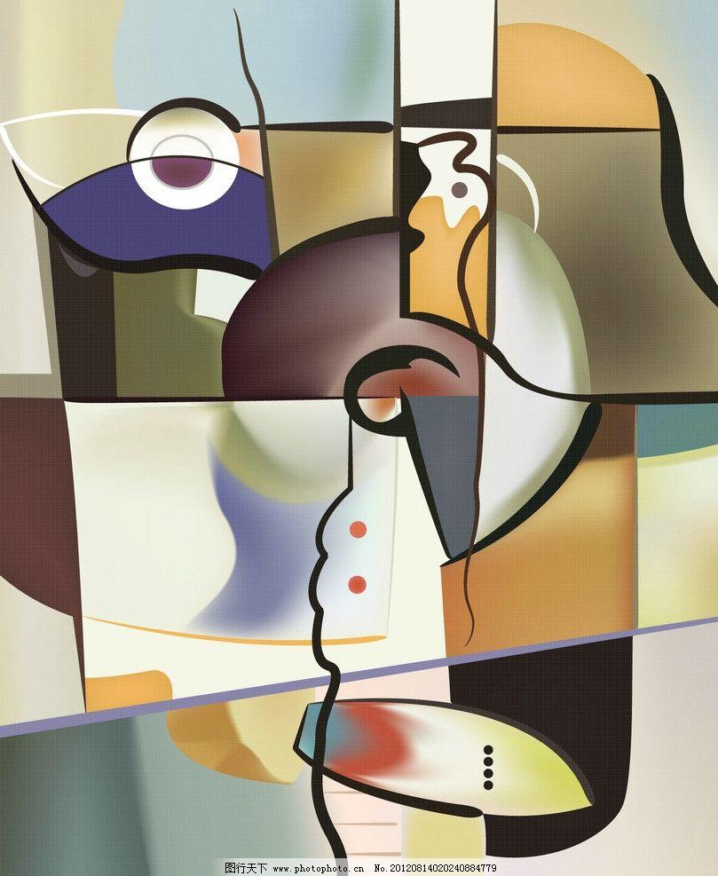 抽象油画 人物画 底纹 花纹 色块 欧式 欧洲 挂画 无框画 移门
