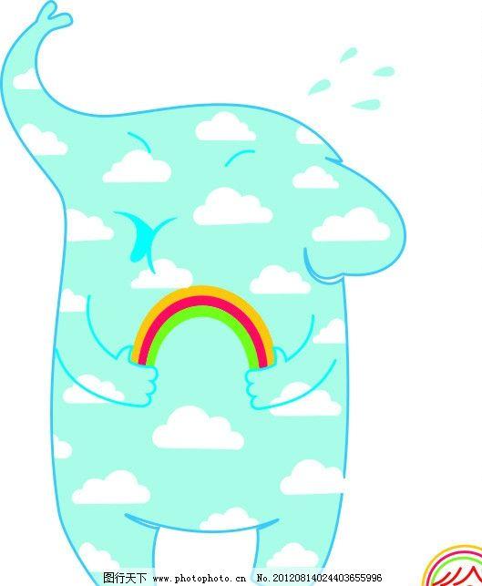 小象 大象 彩虹 小孩头像 野生动物 生物世界 矢量 cdr