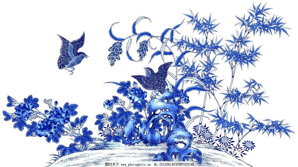 青花 青花瓷素材 底纹花纹 陶瓷花纹 陶瓷兰彩 小鸟 喜鹊 蝴蝶 花儿