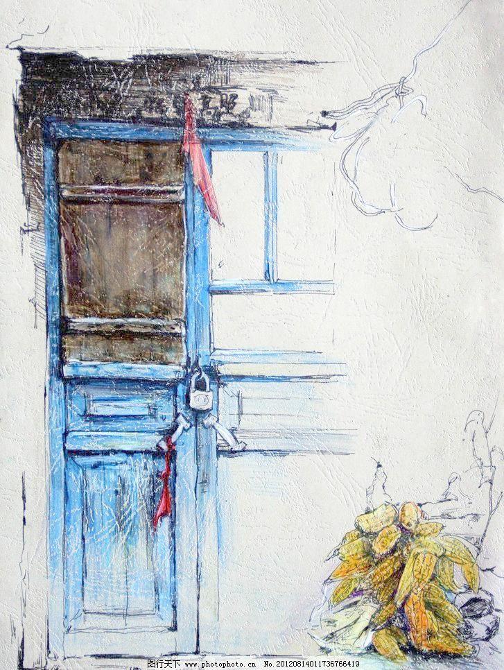 72dpi jpg 彩铅 风景 风景画 高考 古门 绘画 绘画书法 美术 风景画
