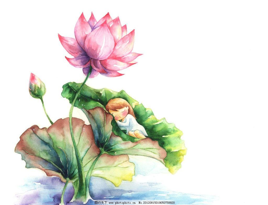水彩荷花 手绘荷花 水彩画 睡眠的小女孩 可爱 漂亮 绘画书法