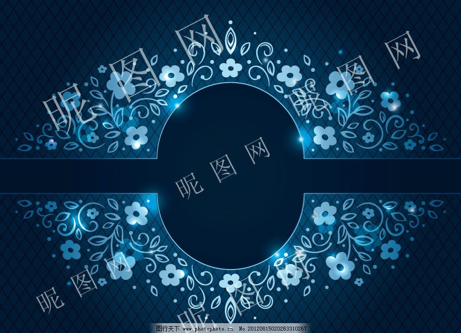 蓝色欧式背景(下载无水印)图片