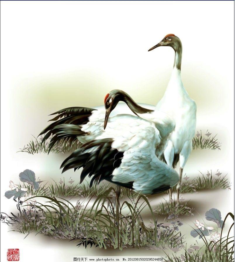 两只仙鹤 仙鹤 白鹤 鹤 水草 鸟 移门 手绘 绘画 无框画 中国风 古典
