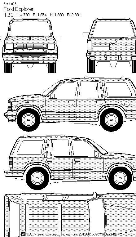 皮卡车平面图-010福特汽车皮卡宽屏