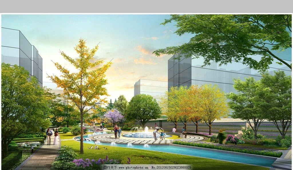 绿化景观透视 小区入口效果图 欧式景观 树木 建筑 行人 湖泊 建筑