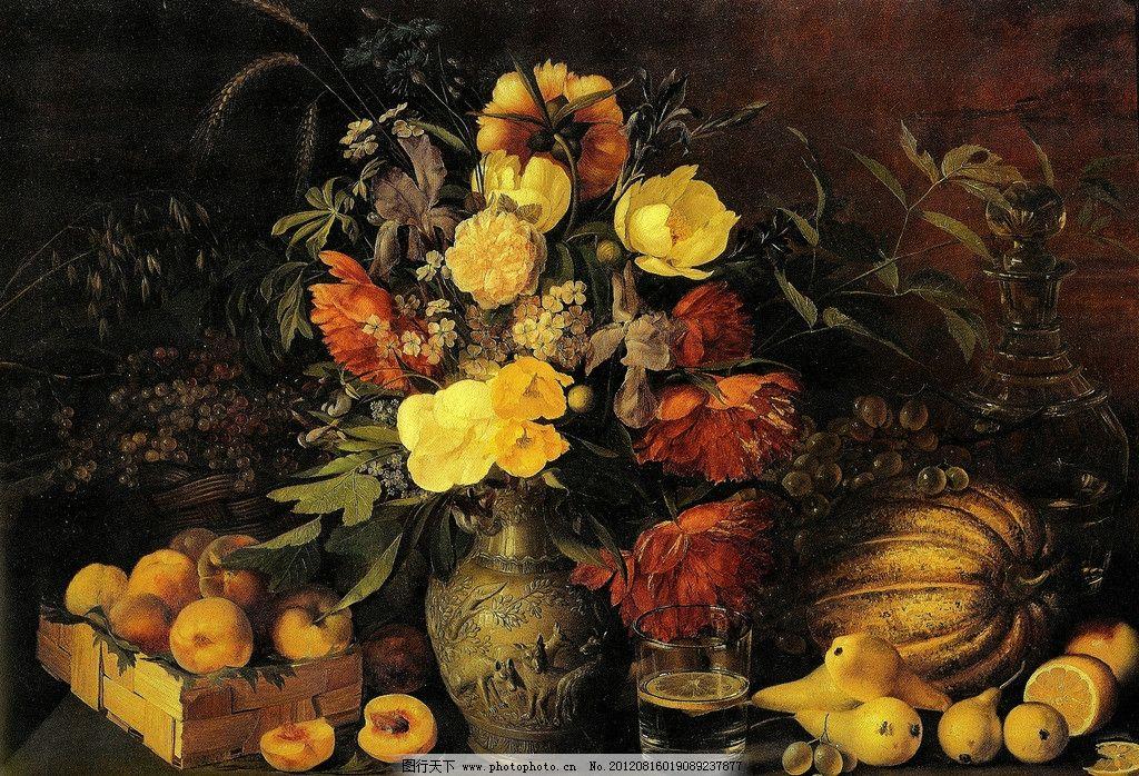 油画静物 油画 外国油画 静物 花瓶 花 水果 古典 色调 暖色 绘画书法