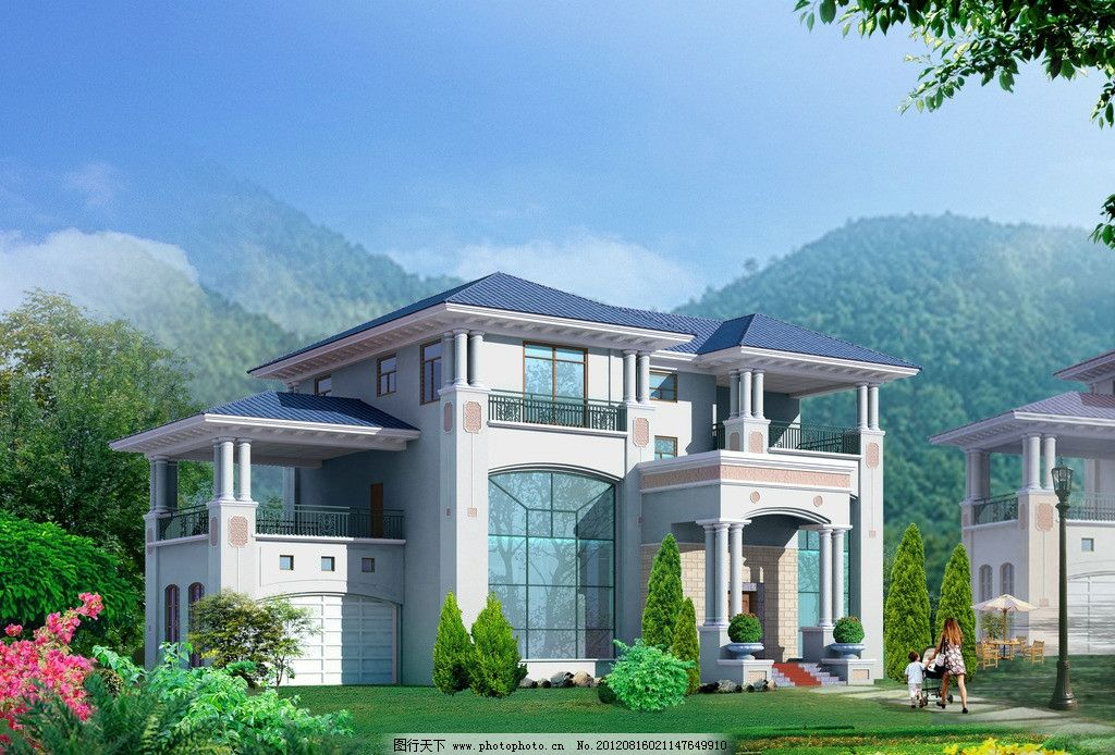 别墅设计图 建筑 住宅 别墅 居住 环境 草坪 绿化 别墅概念设计图 3d