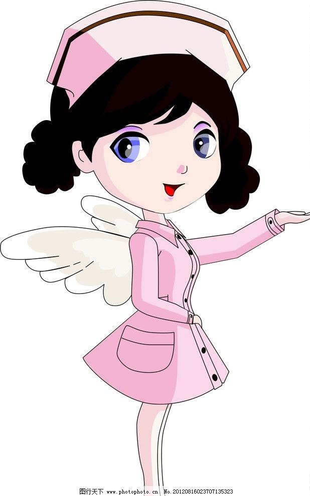 卡通天使护士 手绘 鼠绘 矢量卡通人物 妇女女性 矢量人物