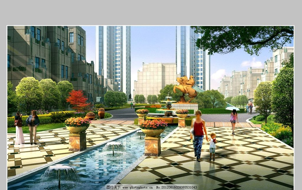 小区入口 水景效果图 欧式建筑 水池 树木 建筑 花钵 建筑设计 环境设