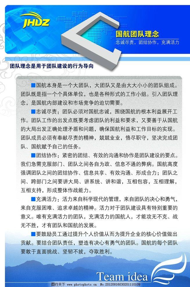 国航 团队 理念 制度牌 科技 花纹 山河 清新 星球 蓝色底板 展板模板