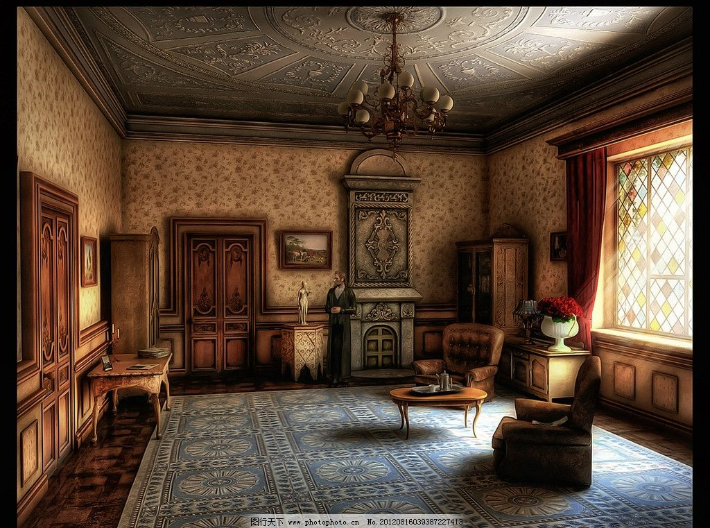 欧式装饰装修风格 欧式 装饰 装修 沙发 柜子 窗口 室内摄影 建筑园林