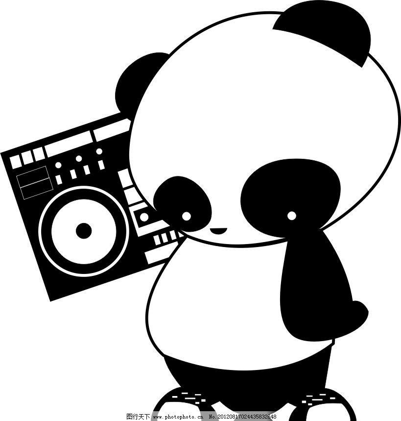 黑白卡通熊猫 卡通动物 录音机 矢量动物 cdr 野生动物 生物世界 矢量