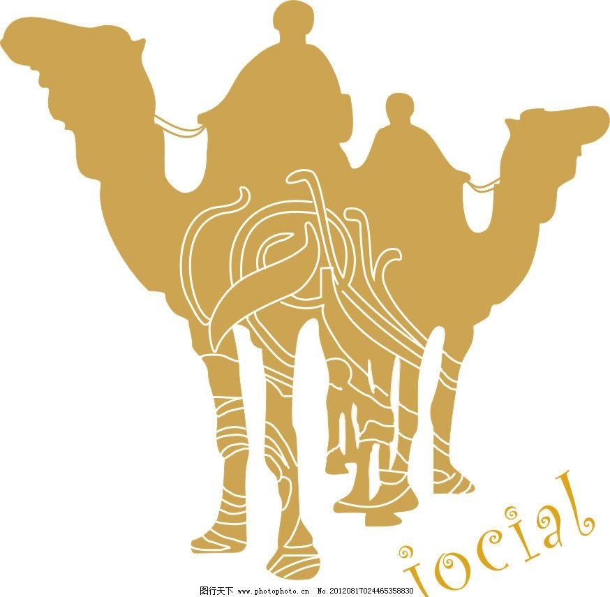 骆驼人物线条 骆驼 人物剪影 花纹 线条 cdr 矢量动物 矢量花纹 野生