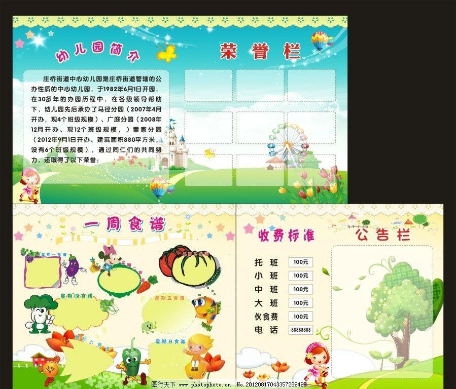 幼儿园 幼儿园背景 食谱 一周食谱 公告栏 简介 荣誉栏 卡通