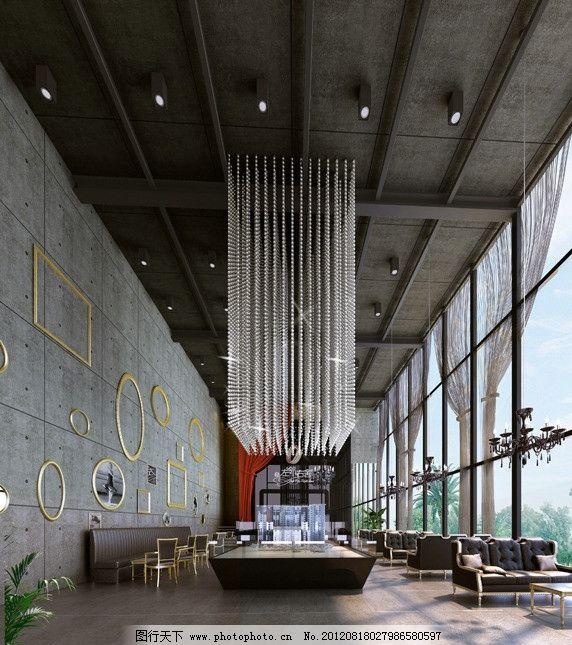 售楼部 日光 水晶吊灯 射灯 模型 墙砖 地砖 金属边框 沙发 纱帘 植物