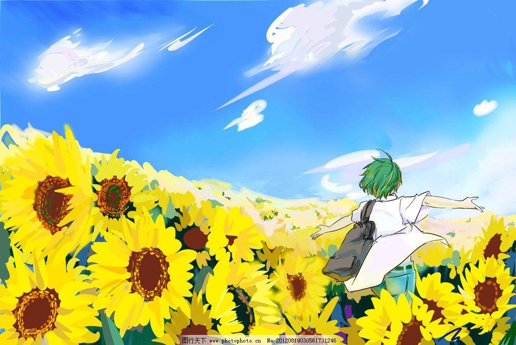 向日葵少年 手绘 向日葵