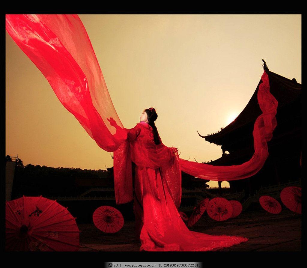 红衣 古代美女图片