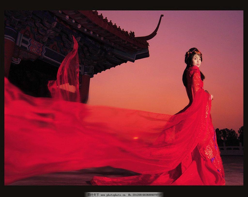 美女 红衣美女 古代 城墙 大气 女性女人 人物图库 摄影 72dpi jpg