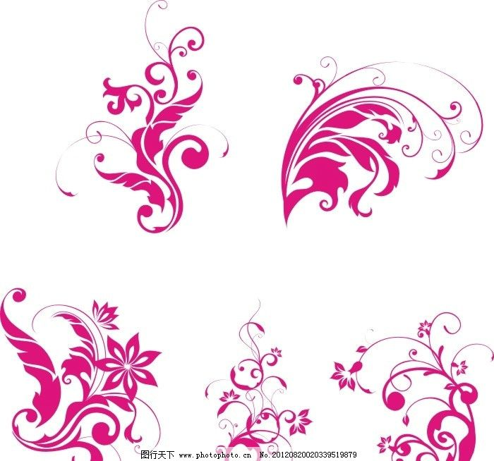 花纹 藤蔓 装饰 红色 蔓延 边框 纹理 矢量 花 底纹 好看 漂亮 设计