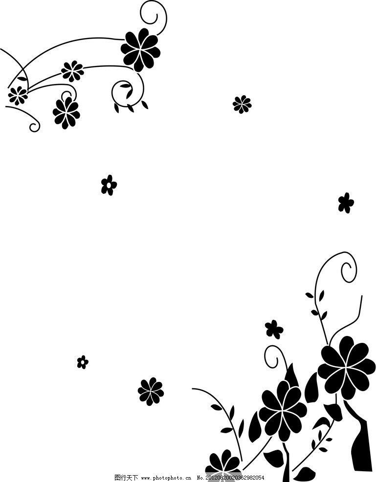 黑色情节 黑色 花朵 简约 黑白 花边花纹 底纹边框 设计 700dpi jpg