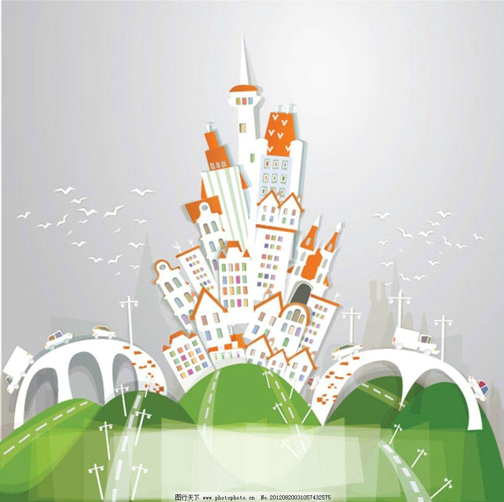 色彩斑斓 小鸟 环保 高架桥 楼房 房子 汽车 交通 城市 都市 矢量素材