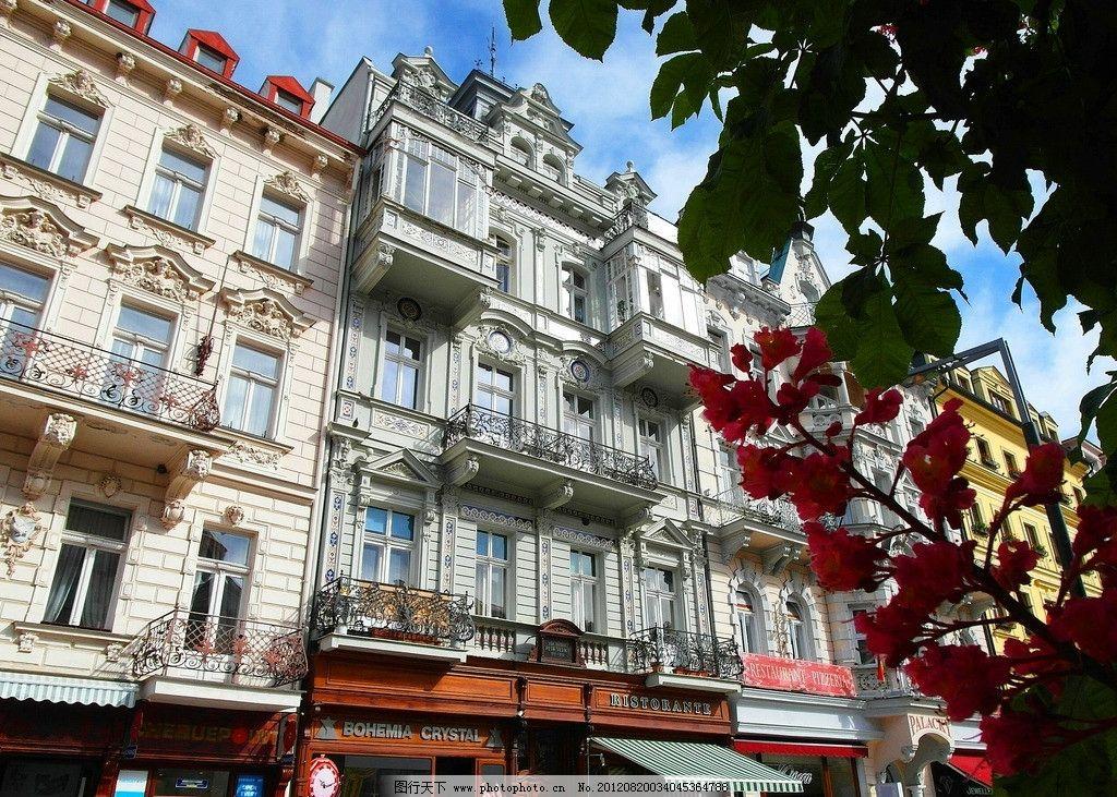 欧式建筑 东欧 城市 多彩房屋 巴洛克 雕塑 橱窗 雕花 阳台